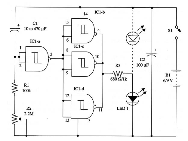 simplest timer using the 4093 ic  art181e
