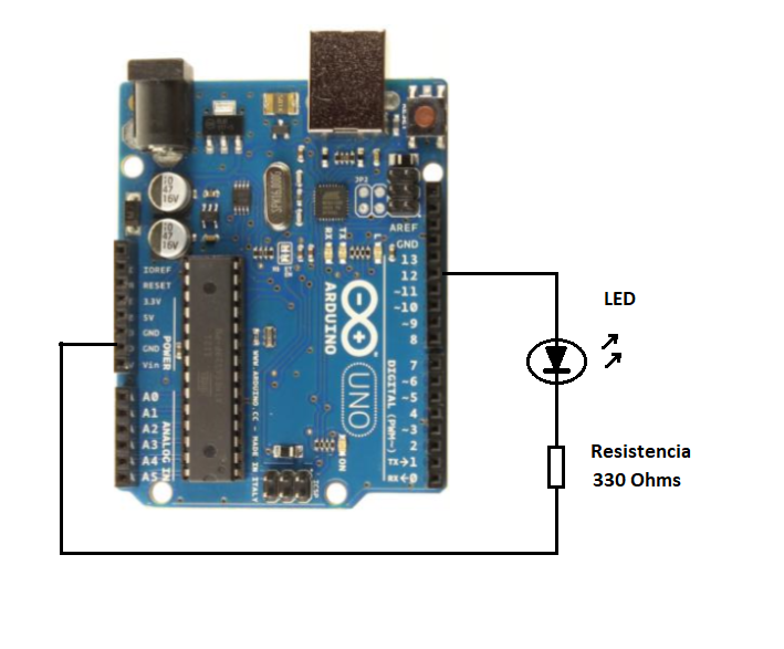 Figure 6. Connecting LEDs to the Arduino Uno board