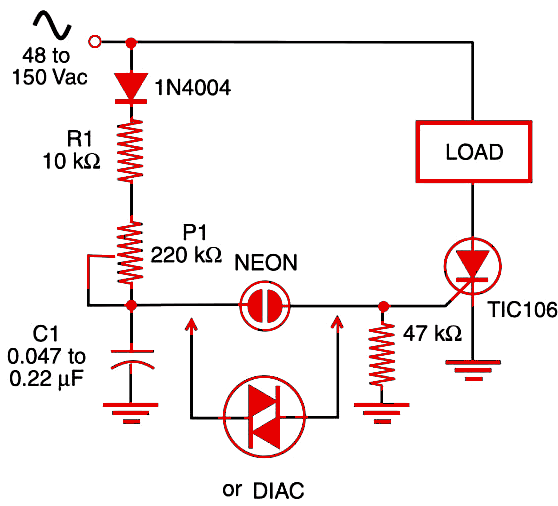 Figure 1   AC dimmer and speed control.