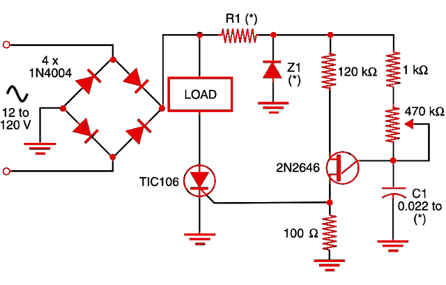 Figure 1    Dimmer using UJT and SCR