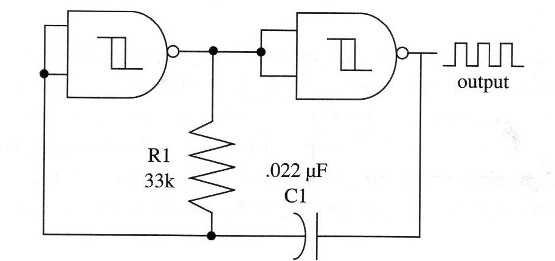 Figure 1 – Two- gate oscillator runing at 1 kHz