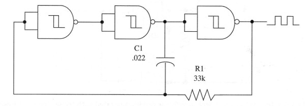 Figure 4 – A three-gate oscillator using the 4093 IC