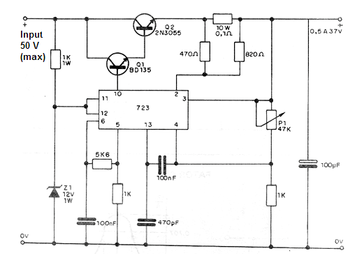 voltage regulator using the 723 ic  cb417